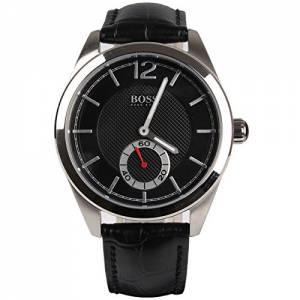 [ヒューゴボス]HUGO BOSS 腕時計 Black Dial Black Leather Watch 1512793 メンズ