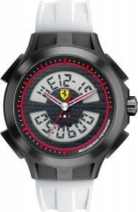 [フェラーリ]Ferrari  Scuderia Gents SF102 'Lap Time' White and Black Digital Watch 0830020