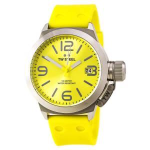 [ティーダブルスティール]TW Steel  Canteen Yellow Dial Yellow Silicone Watch TW520