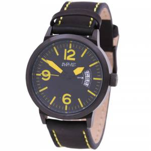 [オーガストシュタイナー]August Steiner Brushed Black Steel Watch AS8012YL_Yellow-Standard
