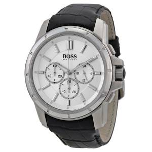 [ヒューゴボス]HUGO BOSS  Origin Silver Dial SS Leather Chrono Quartz Watch 1512927 メンズ