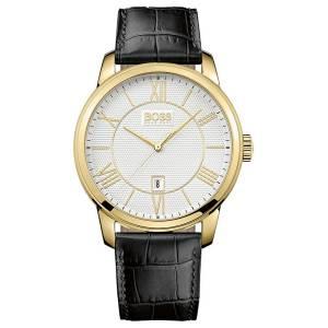 [ヒューゴボス]HUGO BOSS  Silver Dial Gold Plated Steel Black Leather Strap Watch 1512972