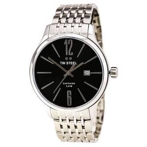 [ティーダブルスティール]TW Steel Black Dial Stainless Steel Watch TW Steel Slim Line