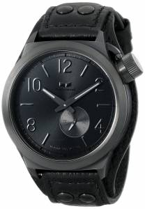 [ベスタル]Vestal  Canteen Leather Analog Display Japanese Quartz Black Watch CTN3L11 メンズ