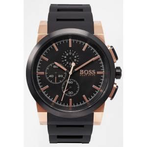 [ヒューゴボス]HUGO BOSS  Chronograph Neo Black Silicone Strap Watch 46mm 1513030 メンズ