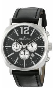 [ジャックルマン]Jacques Lemans  Lugano Analog Display Quartz Black Watch 1-1645E メンズ