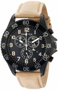 [ノーティカ]Nautica  NST19 Black Stainless Steel Watch with Beige Leather Band NAD17507G
