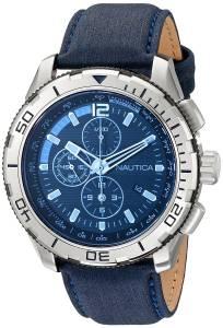 [ノーティカ]Nautica  NST101 Stainless Steel Watch with Leather Band NAD19518G メンズ