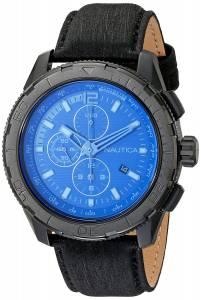 [ノーティカ]Nautica  NST 101 Black Stainless Steel Watch with Leather Band NAD21504G メンズ