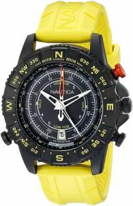 [ノーティカ]Nautica  NSR 103 Black Stainless Steel Watch with Textured Yellow Band NAD21000G