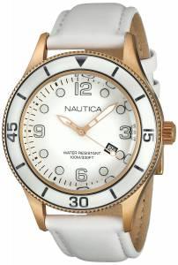[ノーティカ]Nautica  Classics White Dial Rose Tone Stainless Steel Case Leather Watch A18678G