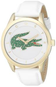 [ラコステ]Lacoste Victoria CrystalAccented Stainless Steel Watch with White Leather Band 2000894