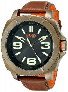 [ヒューゴボス]HUGO BOSS BOSS Orange Sao Paulo GoldTone Watch with Brown Leather Band 1513164