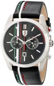 [フェラーリ]Ferrari  D 50 Stainless Steel Watch with Striped Leather Band 830237 メンズ