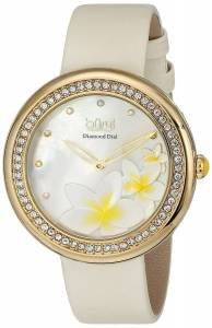 [バージ]Burgi  Diamond Accented White MotherofPearl Beige Strap Watch BUR116WT レディース
