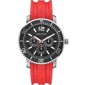 [ノーティカ]Nautica  New Multifunction Black Dial Red Rubber Strap 47mm N16639G メンズ