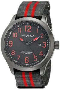 [ノーティカ]Nautica  NCC 01 Stainless Steel Watch with Grey And Red Stripe Band NAD14520G