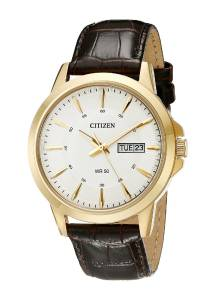 [シチズン]Citizen  GoldTone Stainless Steel Watch with Brown Leather Band BF2018-01A メンズ