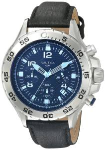 [ノーティカ]Nautica NST Chrono Blue Crystal Analog Display Analog Quartz Black Watch NAD19536G
