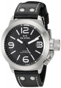 [ティーダブルスティール]TW Steel  Stainless Steel Watch with Black Leather Band CS1