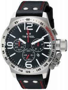 [ティーダブルスティール]TW Steel  Stainless Steel Watch With Black Leather Band CS10