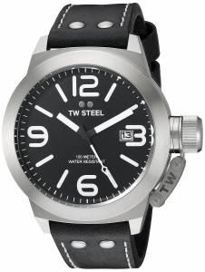 [ティーダブルスティール]TW Steel  Stainless Steel Watch with Black Leather Band CS2