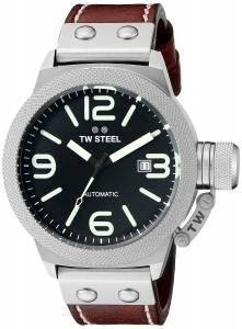 [ティーダブルスティール]TW Steel  Stainless Steel Watch with Brown Leather Band CS25