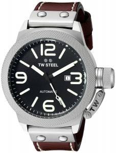[ティーダブルスティール]TW Steel  Stainless Steel Watch with Brown Leather Band CS26