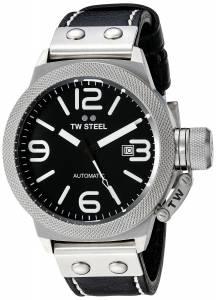[ティーダブルスティール]TW Steel  Stainless Steel Watch with Black Leather Band CS5