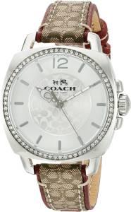 [コーチ]Coach  Boyfriend 36mm Leather Watch Silver/Signature Khaki Watch 14502415