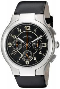 [フィリップ ステイン]Philip Stein Black chronograph dial on Black Italian 45-CRCLBK-CIB