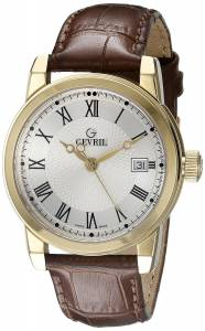[ジェビル]Gevril  PARK Gold IonPlated Stainless Steel Watch with Leather Strap 2525 メンズ