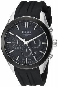 [パルサー]Pulsar  Chronograph Analog Display Japanese Quartz Black Watch PT3681 メンズ