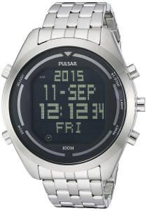 [パルサー]Pulsar 腕時計 Digital SilverTone Stainless Steel Watch PQ2043 メンズ