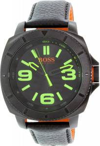 [ヒューゴボス]HUGO BOSS 腕時計 Sao Paulo Black Leather Quartz Watch 1513163 メンズ