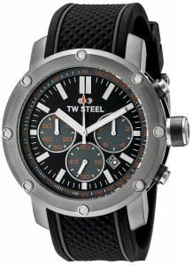 [ティーダブルスティール]TW Steel  Titanium Watch with Black Silicone Band TS4 メンズ