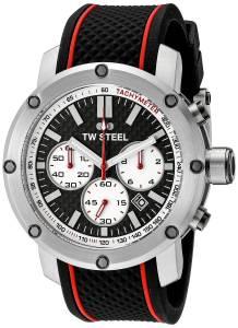 [ティーダブルスティール]TW Steel  Stainless Steel Watch with Black Silicone Band TS2