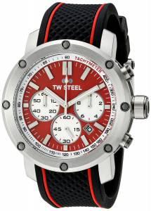 [ティーダブルスティール]TW Steel  Stainless Steel Watch with Black Silicone Band TS1