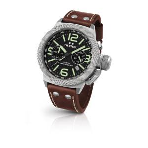 [ティーダブルスティール]TW Steel Stainless Steel Canteen Brown Leather Band Black CS24