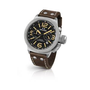 [ティーダブルスティール]TW Steel Stainless Steel Canteen Brown Leather Strap Band CS33