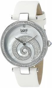 [バージ]Burgi Round White Mother of Pearl and Silver Dial with Swarovski Crystals Quartz BUR143WT