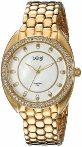 [バージ]Burgi Round White Mother of Pearl and White Dial Three Hand Quartz Gold Tone BUR145YG