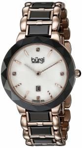 [バージ]Burgi  Round White Dial Two Hand Quartz Stainless Steel Bracelet Watch BUR147BKR