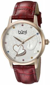 [バージ]Burgi  BUR149 Round Silver Dial Three Hand Quartz Rose Gold Tone Strap Watch BUR149RD
