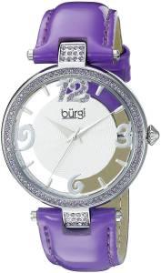[バージ]Burgi  BUR150 Round Silver and See Thru Dial Three Hand Quartz Strap Watch BUR150PU