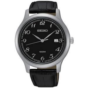 [セイコー]Seiko 腕時計 Stainless Steel Black Leather Band Black Dial Watch SUR189 メンズ