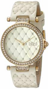 [バージ]Burgi  BUR154 GoldTone Swarovski Crystal Watch With Quilted Band BUR154BG
