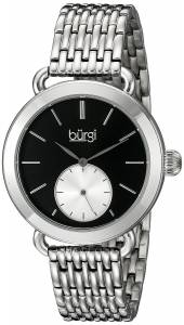 [バージ]Burgi  Round Black Dial Two Hand Quartz Stainless Steel Bracelet Watch BUR153SSB