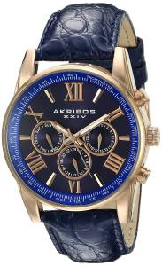 [アクリボス XXIV]Akribos XXIV  Multifunction Rose Tone and Blue Leather Strap Watch AK864RGBU