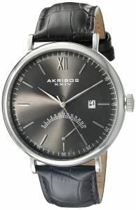 [アクリボス XXIV]Akribos XXIV Retrograde Silver Tone Stainless Steel and Black Leather AK845SSB